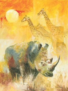 African wildlife white Rhino with Giraffes in the African sunset Wildlife Paintings, Wildlife Art, Animal Paintings, Animal Drawings, Rhino Art, Elephant Art, Tribal Animals, African Animals, African Colors