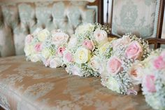 handtied bouquets of avalanche roses and gyp