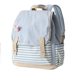 Japan and Korean Style Canvas Backpack Fresh Dot Striped Teenagers Girls Travel Bag Laptop Backpacks withy Cute Pink Bow Rabbit  #bag #highschool #bagshop #WomenWallets #fashion #L09582 #backpack #handbags #YLEY #Happy4Sales #shoulderbags #kids  #NewArrivals