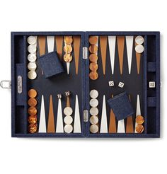 Parisian brand <a href='http://www.mrporter.com/mens/Designers/Hector_Saxe'>Hector Saxe</a> specialises in backgammon sets. Impeccably crafted in France with a leather board, this 'Daniel' version comes complete with a metal doubling cube, pearlescent dice and checkers and two shakers. A winning choice for fans of the game, it's housed in a dark-blue denim case for easy storage and portability.