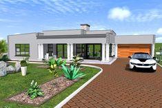 Overall Dimensions- 2 Car GarageArea- Square metres Single Floor House Design, House Roof Design, Flat Roof House Designs, Bamboo House Design, Round House Plans, My House Plans, Family House Plans, Bedroom House Plans, Single Storey House Plans