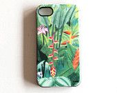 Jungle illustration cell phone cover Soft TPU Gel Silicone case for iPhone 4/4s great as a forest lover gift for teenagers nature phone case