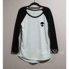 Alien Shirt Baseball Raglan Shirt Tee Long Sleeve Tshirt T Shirt Women... ($20) ❤ liked on Polyvore