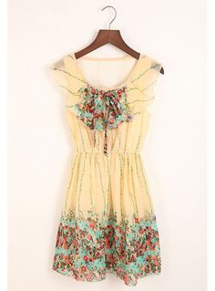 Sweet Splicing Color Elastic Waist Tiny Floral Print Chiffon Dress For  Women (GREEN 8ab945028