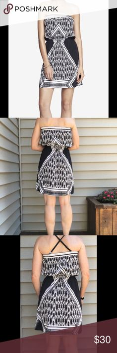 Express black & white ikat print strapless dress The ikat print is on front and back also has black block sides that are very slimming. Dress is strapless but comes with two matching adjustable straps that can be attached front to back, criss crossed, or halter style. Top of bodice is elastic to help hold it up without straps. The waist is cinched with elastic. Can be casually worn with flip flops/espadrilles/or even a pair of  stilettos.  New without tags, never worn, smoke free home. Tags…