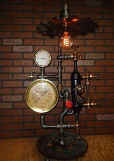 Steampunk Lamp Light Industrial Art Machine Age Salvage Steam Gauge Temperature   eBay