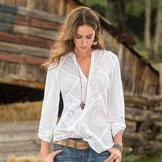 """SPINDRIFT SHIRT--Swiss dots and floral lace make this wardrobe staple a standout. A combination of cotton woven texture and cotton knit. Machine wash. Imported. Exclusive. Sizes XS (2), S (4 to 6), M (8 to 10),L (12 to 14), XL (16). Approx. 27""""L."""