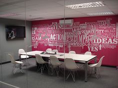 Great idea for wall decorations - vinyl lettering. BWP Group Offices