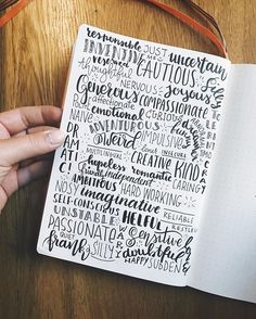"""Remember that introduction page from D1 of December's #planwithmechallenge? Well, I took it a step further... at some point, I had to google """"Adjectives to describe a person""""  ••• •• • #bulletjournal #bulletjournaling #bulletjournaljunkies #bulletjournallove  #planner #planneraddict #plannercommunity #moleskine #bujo #bujojunkies #bujolove #doodle #lettering #typography #draw #showmeyourplanner #bujocommunity #plannergeek #calligraphy #handlettering #journaling #artjournal #minimal…"""