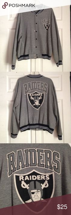 e5f39bc0f This is a super cute in mint condition vintage Raiders bomber jacket.  Material build is  cotton.