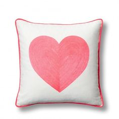 Embroidered Neon Heart Pillow