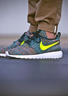 d52da54af379 Flyknit Roshe Run Yellow Swoosh. Nike Shoes ...