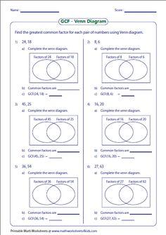 Venn diagram worksheets shade the regions using three sets gcf of numbers venn diagram ccuart Images