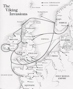 On both sides of my family my heritage traces back to Viking ancestors . This is a neat Viking invasion map. Unfortunately Waterford, the oldest of all Hiberno-Norse settlements, seems to be missing. Norse Vikings, History Of Vikings, Vikings Ks2, World History, Family History, Ivar Vikings, Viking Culture, Viking Life, Norse Tattoo