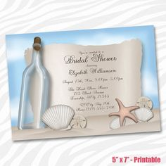 Beach Bridal Shower invitations Message in a Bottle by Starzraven