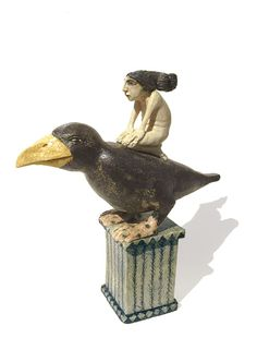 Imagine Gallery: Crow Woman, a ceramic sculpture by Amanda Popham, U.K. It could inspire a carving.
