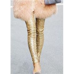 Sequined Gold Silver Leggings Glitter Pants   pariscoming