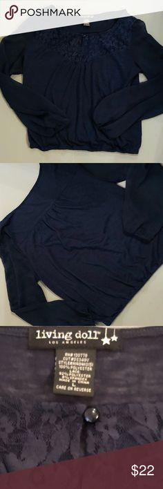 EUC! Stylish & Cozy LIVING DOLL Blouse-LG Excellent Used Condition!!! LIVING DOLL Blouse, Navy Blue (LARGE)  Stylish & Cozzzzy!!! Great for a laid back night! Goes well with jeans, jean skirt, white capris, etc! Makes a great staple piece to own!  Style# A1484K0151 100% Polyester  Lace: 92% Polyester; 8% Spandex  SHEER arms; SEE-THRU lace at top part of blouse; single button Elastic at waistband Machine wash cold/line dry living doll Tops Blouses