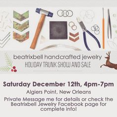 Holiday trunk show this Saturday.  #shopsmall #beatrixbell #neworleans #algierspoint #handmade #jewelry