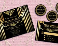 wedding invitations great gasby style with pearls | great gatsby style art deco wedding invitation suite with rsvp card ...