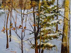 """Daily Paintworks - """"Lighted Winter 9 x 12 oi..."""" by Vincenza Harrity"""