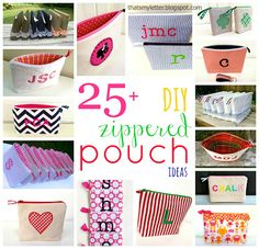 #24 So Cute Zippered Pouch Tutorials !( I can't get enough of these- especially in the Summer)