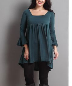 Another great find on #zulily! Emerald Empire-Waist Bell-Sleeve Tunic - Plus #zulilyfinds
