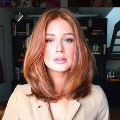 Long Bob Hairstyles for Thick Hair 2019 - Hair Styles For Women Over 40 - Frauen Haare Style Very Long Bob, Long Long Bob, Straight Long Bob, Medium Hair Styles, Short Hair Styles, Medium Red Hair, Medium Auburn Hair, Medium Length Cuts, Medium Lengths