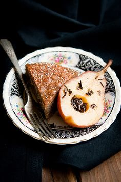 Pear buckwheat cake with tea-poached pears