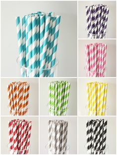 Purple Straws!  100 Striped PAPER STRAWS - 9 colors to choose from -  w/ DIY printable flag - vintage retro wedding bridal shower baby shower birthday party. $15.75, via Etsy.