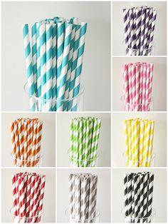 Purple Straws!  100 Striped PAPER STRAWS - 9 colors to choose from -  w/ DIY printable flag - vintage retro wedding bridal shower baby shower birthday party. $15.75, via Etsy.