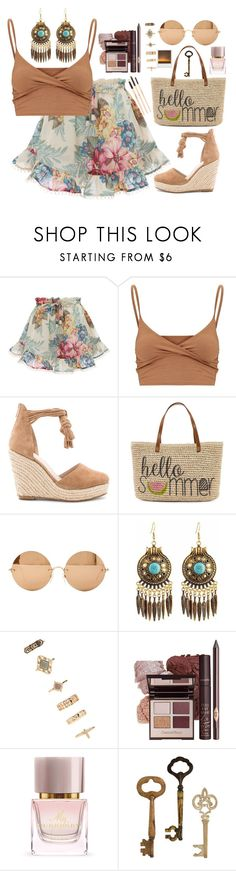"""""""Shopping for vacation clothes with my sister"""" by broccolith ❤ liked on Polyvore featuring Zimmermann, Raye, Straw Studios, Victoria Beckham, Forever 21, Burberry, Urban Outfitters, Home Decorators Collection and Gorgeous Cosmetics"""