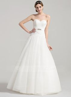 Ball-Gown Sweetheart Floor-Length Ruffle Beading Zipper Up Covered Button Strapless Sleeveless Church General Plus No Spring Summer Fall Ivory Tulle Wedding Dress
