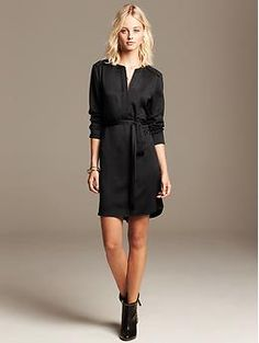 Heritage Black Zip-Front Shirtdress | Banana Republic