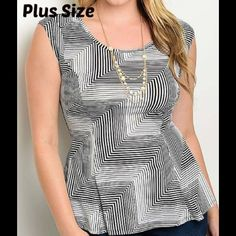 """COMING SOON Black Marble Peplum Top Figure flattering peplum top, 31"""" long, fabric is 95%poly/5%spandex provides a nice stretch, price will be $39 Paicar Concepts Tops Tank Tops"""