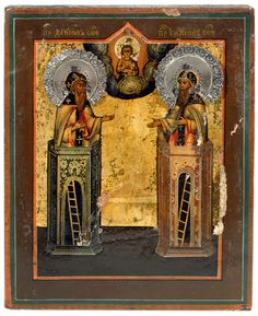 MINIATURE ICON OF ST. DANIEL AND ST. SIMEON