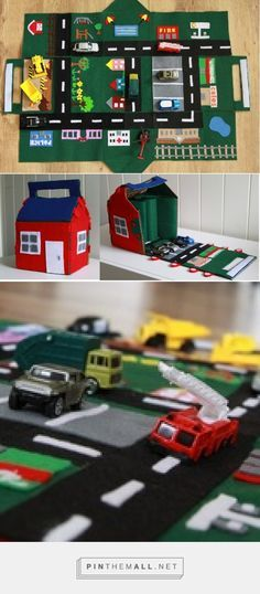 Free Pattern & Tutorial for Felt Car Play Mat and House - Full tutorial for a felt car play mat that folds up into a little house - perfect for carrying your cars around or for storing the toys when not in use. Little boys will get endless fun driving their matchbox cars around the little felt town! Try out this pattern and tutorial.