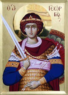 Άγιος Γεώργιος / Saint George Religious Icons, Religious Art, Byzantine Icons, Orthodox Christianity, Art Icon, Catholic Saints, Saint George, Knights Templar, Orthodox Icons