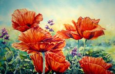 """One of the many poppy paintings that i do,this one painted on Bockingford 200LB CP with M Graham Watercolours & entitled The Cottage Garden ,22"""" X 15"""". I do not normally paint on wood pulp papers as they are heavily sized and tend to resist paint ,however there is a place in ones toolkit for these papers as long as you adapt your style to suit."""