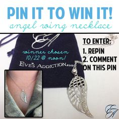 Pin it to win it! Win this angel wing necklace from www.EvesAddiction.com  How to Enter: 1. Repin this pin 2. Comment on this pin  Winner chosen 10-22 @ noon EST