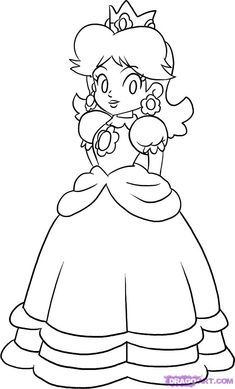 princess peach coloring pages free - Baby Princess Peach Coloring Pages