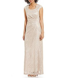Tahari by ASL CapSleeve Sparkle Lace Gown #Dillards