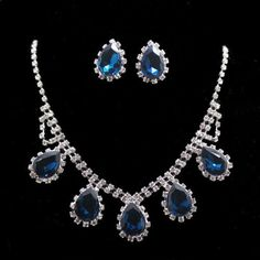 Women Blue Sapphire Swarovski Crystal Elements Clip on Earrings Necklace Sets - http://elegant.designerjewelrygalleria.com/swarovski/women-blue-sapphire-swarovski-crystal-elements-clip-on-earrings-necklace-sets/
