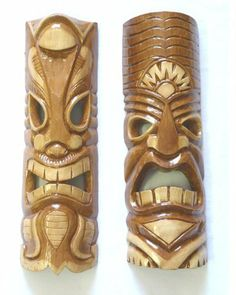 Set /2 Brown Masks w/ Open Mouth Tiki Decor:Amazon:Home & Kitchen