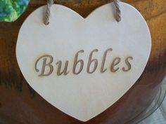 Bubbles Wedding Sign Wood Heart Sign Rustic Wedding Heart