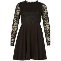 Izabel London Ruffle Neck Lace Dress ($41) ❤ liked on Polyvore featuring dresses, women dresses, long sleeve cocktail dresses, long-sleeve shift dresses, lace shift dress, lace cocktail dress and brown cocktail dress