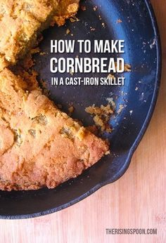 Learn how to make this savory homemade cornbread recipe in a cast-iron skillet using non-gmo masa harina for extra corn flavor, green chiles for a kick, and bacon grease for a crispy bottom crust. Pair with your favorite comfort foods like chili or soup! Great Recipes, Whole Food Recipes, Vegan Recipes, Favorite Recipes, How To Make Cornbread, Homemade Cornbread, Cooking Bread, Cast Iron Cooking, Side Dish Recipes