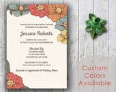 Printable Bridal Shower Invitation, Floral Bridal Shower Invite, Poppies Bouquet Bridal Invite (Your Choice in Colors!)
