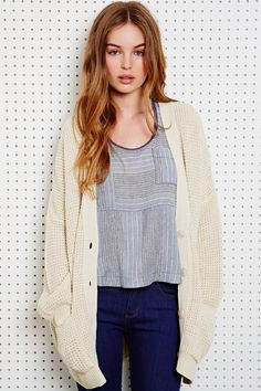 BDG Waffle Knit Cardigan at Urban Outfitters