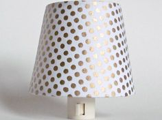 Gold Home Decor Night Light, White and Gold Polka Dot Bedroom Lighting, Teen Room Night Lights, Modern Bedroom Decor, Teen Girl Nightlights